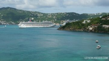 Carnival cruise ship docked in Caribbean - Let's Cruise Kids blog