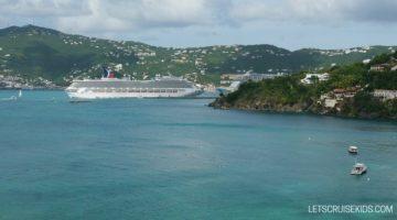 Carnival cruise ship docked in Caribbean - Let's Cruise Kids blog