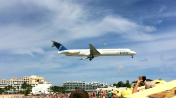 Airplanes Landing at Maho Beach - St Maarten with Kids